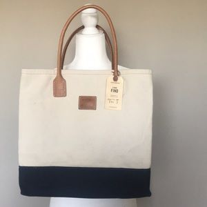 Lucky Brand Blue and Cream Canvas Tote Bag NWT